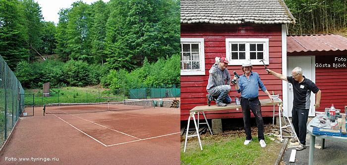Tennisbanorna i Tyringe, vänster foto Bert Wilnerzon, höger foto Gösta Björk